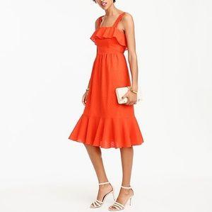 J Crew Cotton Eyelet Ruffle Dress, Size 10